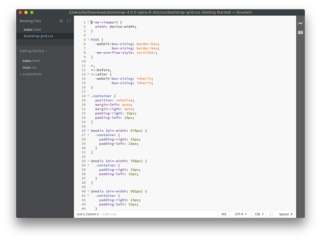 Brackets - one of the best code editors for mac - 2016